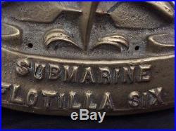 Vintage US Military Bronze Submarine Wall Plaque Flotilla 6 Dolphins Heavy