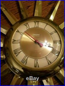 Vintage United Starburst Mid Century Retro Brass Atomic Wall Clock
