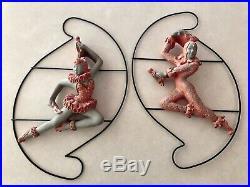 Vintage Universal Statuary Pink Harlequin Wall Plaque 1950s Chalkware Ballet MCM