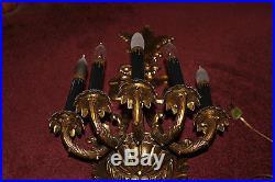 Vintage Victorian Style Candelabra Wall Sconce Brass Light Fixture-5 Lights-LQQK