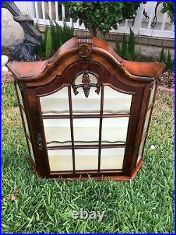 Vintage Wall Cabinet Curio With Light