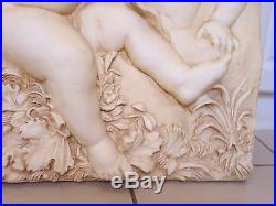 Vintage Wall Decorative Plaque With Cherubs/Angels in Stone Like Style Finish