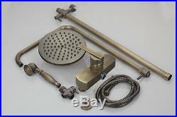 Vintage Wall Mount Antique Brass Bath Rainfall Shower head Spray Faucet Tap Set