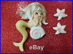 Vintage Wall Plaque Porcelain Mermaid With2 Starfish Norcrest Lefton5 1/2 tall