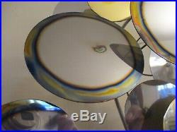Vintage Wall Sculpture Mid century Modern Chrome & Brass Disc Jere Eames Era
