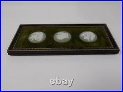 Vintage Wedgewood Pale Green Jasperware 3 framed Cameo Medallions Wall Plaque