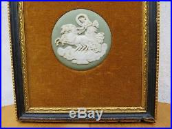 Vintage Wedgwood Pale Green Jasper Ware Three Cameo Framed Wall Plaque
