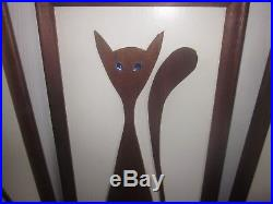 Vintage Witco Mid-Century 3 Plaque Cat Wall Art Danish Mod. Super Cool-Must See