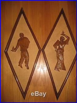 Vintage Wood Wall Plaques From Vietnam