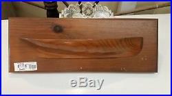 Vintage Wooden HALF HULL SHIP / BOAT Model Wall Plaque Handcarved