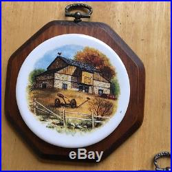 Vintage Wooden Wall Plaques Ceramic Round Tile Country Scenes Lot of 3