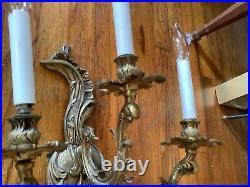 Vintage antique Rococo Victorian Candelabra Wall Sconce 3 Light fixture Brass