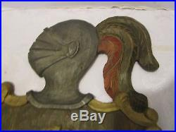 Vintage carved wood Coat of Arms Spain wall plaque Lion Knight helmet 22 tall