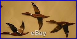 Vintage flying geese wall plaques retro cabin decor ducks fowl wood metal