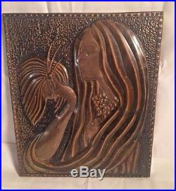 Vintage hammered copper brass WALL PANEL Plaque ART DECO Woman Butterfly 12x10