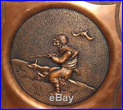Vintage hand made wall decor copper plaque hunter & dog
