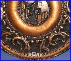 Vintage hand made wall decor ornate floral copper plaque village
