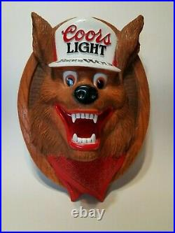 Vintage late 80's 3D Coors Light Beer Wolf wall bar plaque sign