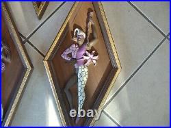Vintage mid century harlequin jester dancer diamond shape wall plaque picture