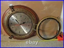 Vintage original Ships Time Large 12 brass porthole wall clock. Works