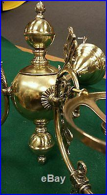 Vintage pair fancy decorative brass wall sconces double candle electric lights