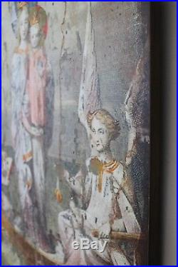 Virgin Mary Wood Wall Art with Angels Cherubs in Antique Vintage Style