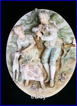 Vntg Porcelain Bisque Hand Painted Porcelain Wall Plaque Courting Couple 3D