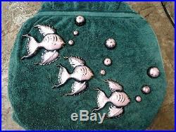 Vtg 12 Piece Pink Gold Ceramic Fish and Bubbles Set Wall Plaque Bathroom Decor