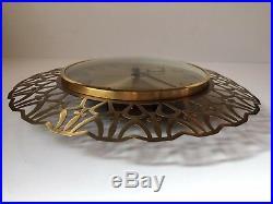 Vtg 1970s Mid Century Brass Wall Clock German Blessing Georg Nelson Eames era