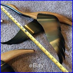 Vtg 3 Masketeers Flying Ducks Geese Mid Century Wood Brass Set Wall Decor MCM