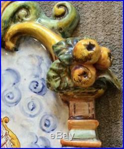 Vtg 31 Italian Majolica RENAISSANCE WALL plaque FOUNTAIN Tuscan pottery Deruta