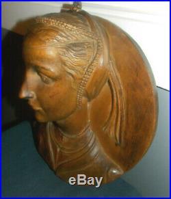 Vtg 3d Hand Carved Woodrenaissance Woman's Bustwall Plaque/sculpture! 12 X 11