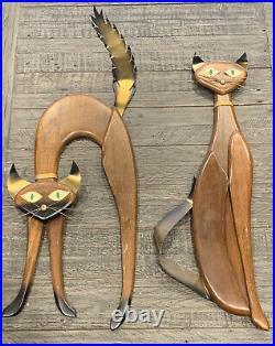 Vtg 60s Masketeers 29 & 27 Mid Century Pair Teak & Brass CATS Wall Art 1961
