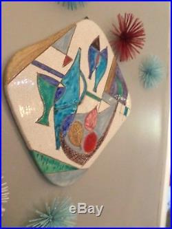 Vtg Aldo Londi Bitossi Italian Art Pottery Wall Plaque Raymor Signed MCM 50's