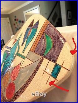 Vtg Aldo Londi Bitossi Italian sgraffito Art Pottery Wall Plaque Raymor Signed