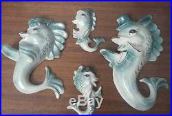 Vtg Anthropomorphic Fish Wall Plaques(4) Atomic Family Blue Opalescent