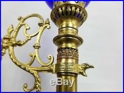 Vtg Antique Gothic Pair Brass Wall Sconce Candle Light Fixture Sign Blue Shade