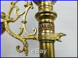 Vtg Antique Gothic Pair Brass Wall Sconce Candle Light Fixture Sign Clear Shade