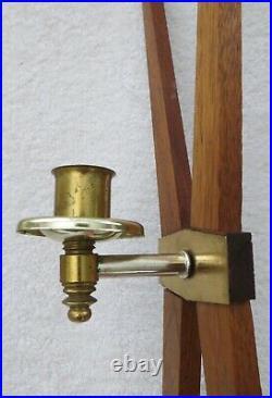 Vtg. Atomic MID Century Modern Teak Wood & Brass Wall Sconce / Candle Holder