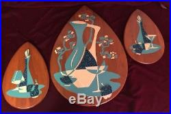 Vtg BELART Mid Century MoD Teak ART Hanging Still Life Blenko Eames Plaque Wall