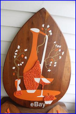 Vtg BELART Mid Century Modern 3 Piece Still Life Wood Wall Plaques In Orange