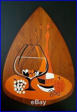 Vtg BELART set 3 Mid Century Modern Teak Hanging Wall Art Atomic Eames Plaque