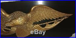 Vtg Bellamy Style Carved Wood American Eagle Mounted on Wood Wall Hanging Plaque