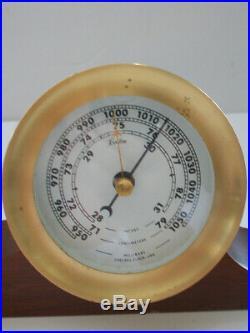 Vtg Boston Chelsea Brass Wall Mount Quartz Clock & Barometer with Wood Cradle 1984