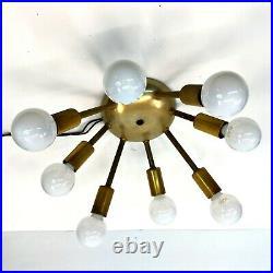 Vtg Brass Mid-Century Modern 8 Light Sputnik Wall Sconce Ceiling Fixture