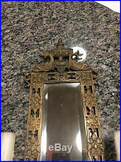 Vtg Brass Victorian BAROQUE WALL MIRRORED Candle Sconce