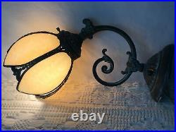 Vtg Brass Wall Sconce Tulip Slag Glass Shade Victorian Art Deco Nouveau Style