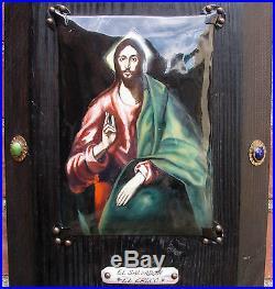 Vtg El Salvador El Greco Porcelain Enamel Plaque Religious Wood Wall Panel