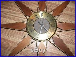 Vtg Elgin Mid Century Modern Metal Brass Finish & Wood Starburst Sunburst Clock