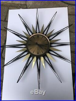 Vtg Elgin Mid Century Modern Metal Brass Starburst Sunburst Clock Parts/ Repair